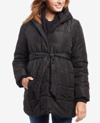 Motherhood Maternity Belted Hooded Coat Black