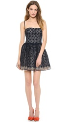Red Valentino Organza Full Flower Dress Blue Denim