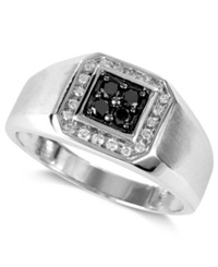 Effy Collection Gento By Effy Men's Black Diamond 1 5 Ct. T.W. And White Diamond 1 8 Ct. T.W. Square Ring In 14K White Gold