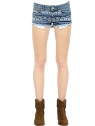 Superdry Embroidered Stretch Cotton Denim Shorts Blue