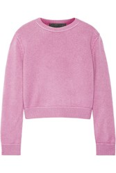 The Elder Statesman Cropped Whipstitched Cashmere Sweater Pink