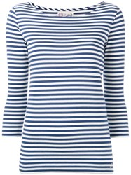 The Seafarer Striped Knitted T Shirt Blue