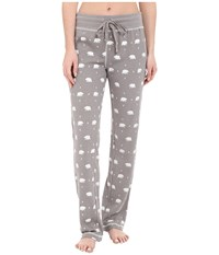 Dylan By True Grit Vintage Washed Waffle Native Bears Pj Pants Silver Grey White Women's Pajama Gray
