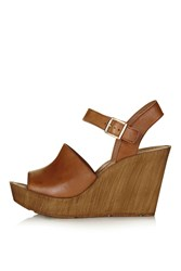 Topshop Willow Two Part Wedge Sandal Tan