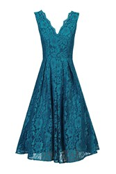 Jolie Moi Scalloped V Neck Lace Prom Dress Blue
