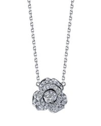 Borgioni Diamond Rose Pendant Necklace In 18K White Gold