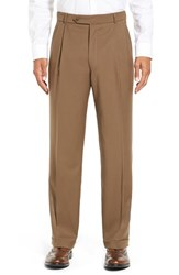 Men's Big And Tall Ballin Pleated Solid Wool Trousers Saddle