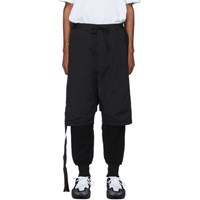 Unravel Black Cotton And Nylon Sweatpants