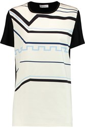 Vionnet Printed Cotton Blend And Stretch Jersey Top Black
