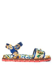 Dolce And Gabbana Majolica Print Embellished Sandals Blue Multi