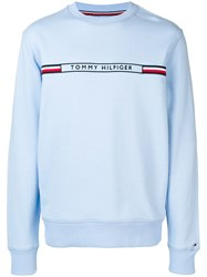 Tommy Hilfiger Logo Embroidered Sweatshirt Blue