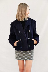 Urban Renewal Recycled Cropped Pea Coat Navy
