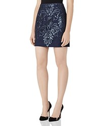 Reiss Georgianna Sequin Lace Mini Skirt Midnight