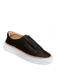Delman Minx Leather Slip On Sneakers Black