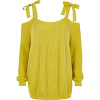 River Island Womens Yellow Tie Shoulder Knit Jumper