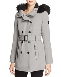 Calvin Klein Belted Faux Fur Trim Hooded Trench Coat Cold Steel