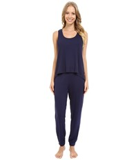 Josie Ribbed Pj Set Midnight Navy Women's Pajama Sets Blue