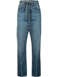 Proenza Schouler Pswl Cropped Flare Jeans Blue