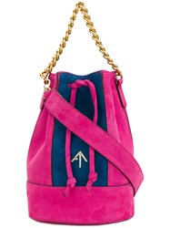 Manu Atelier Colour Block Bucket Tote Pink And Purple