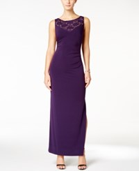 Connected Embellished Ruched Gown Eggplant