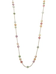 Marco Bicego Jaipur Semi Precious Multi Stone And 18K Yellow Gold Long Station Necklace Gold Multi