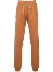 Mr. Completely Zipped Pockets Jogging Trousers Men Cotton L Yellow Orange