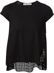 Sacai Luck Crochet Back T Shirt Black
