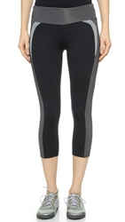 Solow Colorblock Crop Leggings Heather Charcoal Black Grey