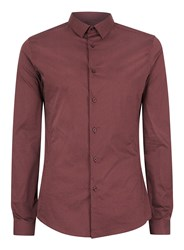 Topman Men's Long Sleeve Printed Stretch Shirt Burgundy