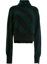 Monse Striped Turtle Neck Jumper Green