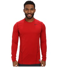 Nike Hyperwarm Lite Fitted L S Crew Gym Red Black Black Men's Long Sleeve Pullover