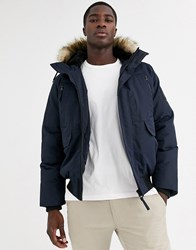 Celio Parka Jacket With Faux Fur Hood In Navy