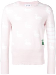Thom Browne 4 Bar Duck Intarsia Pullover Pink