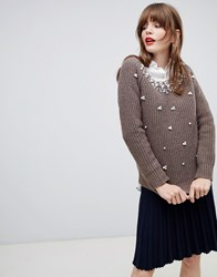 Darling Jumper With Pearl Embellishment Brown