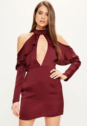 Missguided Burgundy Silky Frill Cold Shoulder Shift Dress