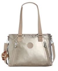 Kipling Angela Satchel Metallic Pewter