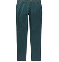 Club Monaco Connor Slim Fit Cotton Blend Twill Chinos Dark Green