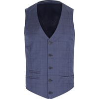 River Island Mens Blue Subtle Check Wool Blend Waistcoat