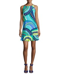 Alice And Trixie Cece Sleeveless Retro Inspired Print Dress Aqua Blue