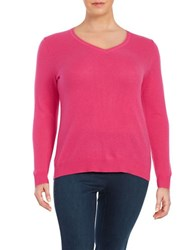 Lord And Taylor Plus Cashmere Crewneck Sweater Cosmopolitan Pink