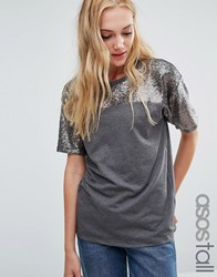 Asos Tall T Shirt With Sequin Yoke In Boxy Fit Multi