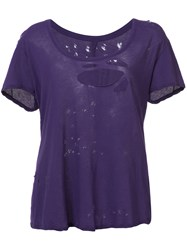 Unravel Project Distressed T Shirt Women Cotton S Pink Purple