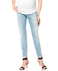 A Pea In The Pod Distressed Maternity Skinny Jeans Light Wash