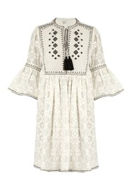 Talitha Diamond Embroidered Cotton Dress White Black