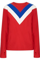 Tory Sport Chevron Stretch Jersey Top Red
