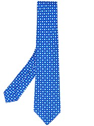 Kiton Geometric Print Tie Men Silk One Size Blue