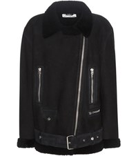 Acne Studios Mytheresa.Com Exclusive More Shearling Lined Suede Jacket Blue