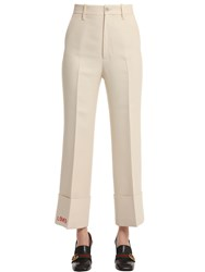 Gucci Embroidered Wool Silk Cady Crepe Pants