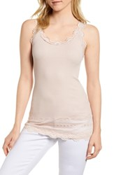 Rosemunde Silk And Cotton Rib Knit Tank Pale Dogwood