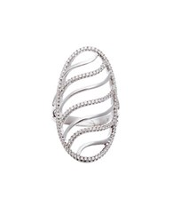 Lord And Taylor Cubic Zirconia Wavy Oval Shield Ring Silver